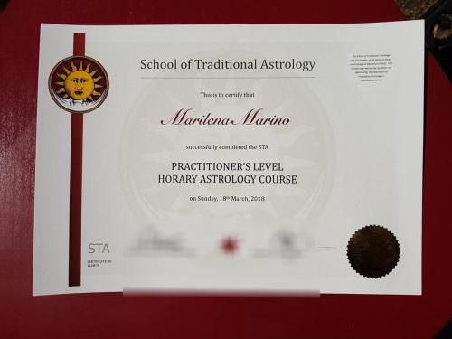 Diploma from the School of Traditional Astrology